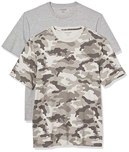 Amazon Essentials Men's 2-Pack Loose-Fit Short-Sleeve Crewneck T-Shirt, Grey Camo/Grey Heather, Large