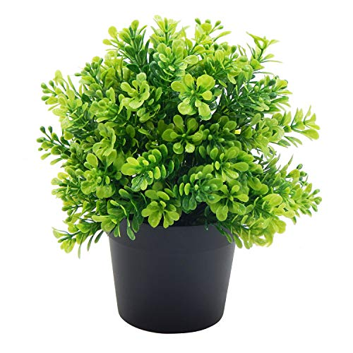 OFFIDIX Artificial Plastic Plants with Pots, Mini Fake Plastic Eucalyptus Plants for Home Office Decoration, Small Faux Plastic Plants for Indoor Decor
