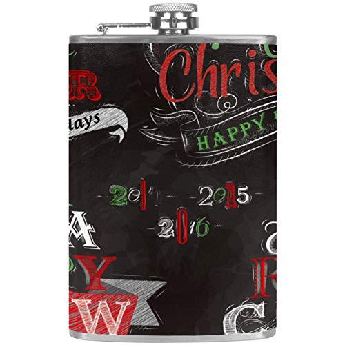 Flacher Likörflasche mit Trichter, Edelstahl, 100 % auslaufsicherer Weihnachtsbaum