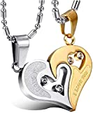 BigMart™ Stainless Steel I Love You Pendant, BROKEN HEART LOCKET,Valentine Special Bicolor I