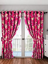 Cortina 2 Piece Eyelet Polyester Door Curtain Set - 7ft, Pink