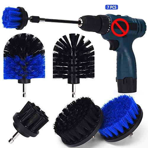 Hansiro Bürstenaufsatz mit Verlängerungsstange für Bohrmaschine | 7er Bohrerbürste für Akkuschraube | Renigungsbürste für Teppich Fliesen Felgen | Schwarz & Blau
