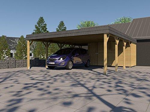 Doppel Carport Walmdach SAUERLAND VI - 700 x 800cm Carport + Geräteraum Walmdachcarport