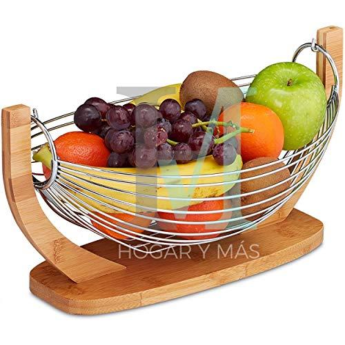 Hogar y Mas Frutero Cocina Moderno, Bambú y Acero Inoxidable, Cesto Frutas Original.