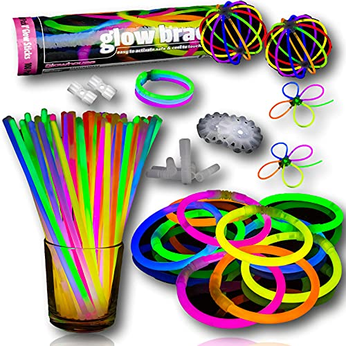 100 Glow Sticks Mega Party Pack. Top quality UK brand. 12 hours of neon glowing light to brighten up your 80s party.