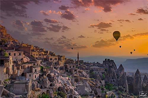FAWFAW Adults Jigsaw Puzzles Toys 1000 Pieces, Turkey Sunset Scenery Hot Air Balloons Kids Toys Gifts, 1500/1000/500/300 Pieces