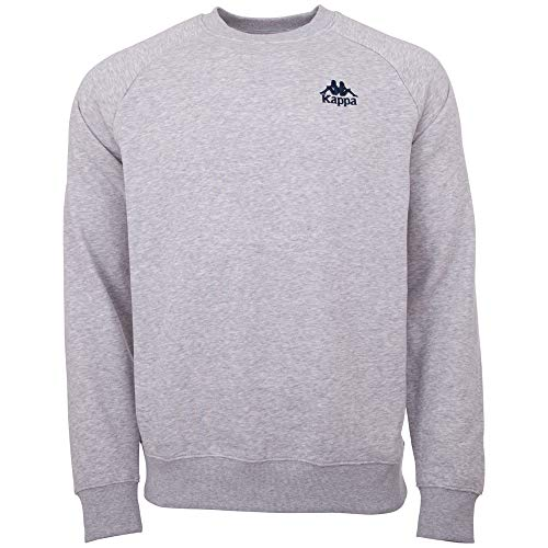 Kappa Herren Sweatshirt Authentic Taule | Langarm Shirt, Retro-Look Hoodie, Pullover Sweater Long-Shirt, Regular fit | 18M grey melange, Größe XL