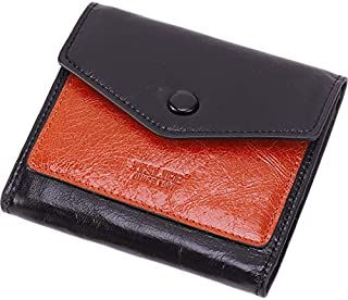 Itslife Women's Small Leather Wallet RFID Card Holder Mini Bifold Ladies Flat Pocket Purse Waxed Black