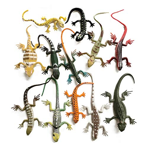 Yitaocity 12Pcs Realistic Fake Rubber Lizards Toys Animal Figures for Boys and Girls  Party Favors Decoration  Gag Toys  Prank and Prop
