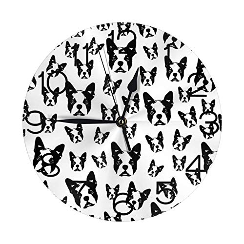 Boston Terrier Dog Gift Wrapped For Christmas Round Wall Clock Large Decorative Wall Clock Round Numeral Home Decor For Living Room(9.84in)