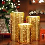 YMing Flackernde Flammenlose Kerzen, Realistisch LED Flammen, Echte Wachssäulenkerzen im Goldglas, Größe 10 cm / 12,5 cm / 15 cm Hoch, 7,5 cm Durchmesser (Golden)