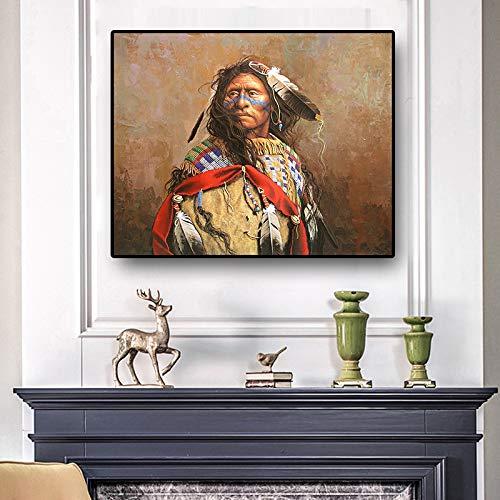 Posters en afdrukken van portretten van Indigene Scandinavische Indianen olieverfschilderij canvas muurkunst foto's van de woonkamer