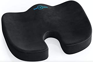 Coccyx Seat Cushion - Comfortable Supportive Orthopedic Memory Foam Relieves Back, Sciatica and Tailbone Pain Great Seat Pillow for Office Chair Car Seat, Wheelchair, Plane