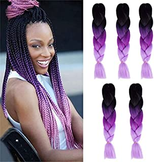 Kanekalon Ombre Braiding hair synthetic Crochet braids twist 24inch 5pcs/lot 100g Ombre two three tone Jumbo braid hair extensions Dreadlocks (black-purple-lavender)