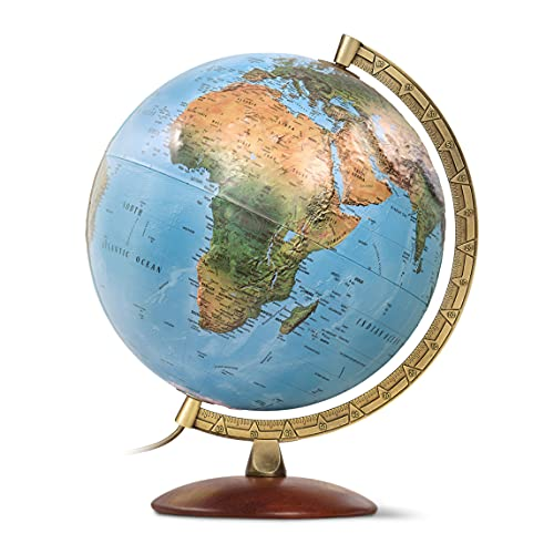 Waypoint Geographic Illuminated Desk Globe with Stand and Raised Relief Features - 1,000's of...