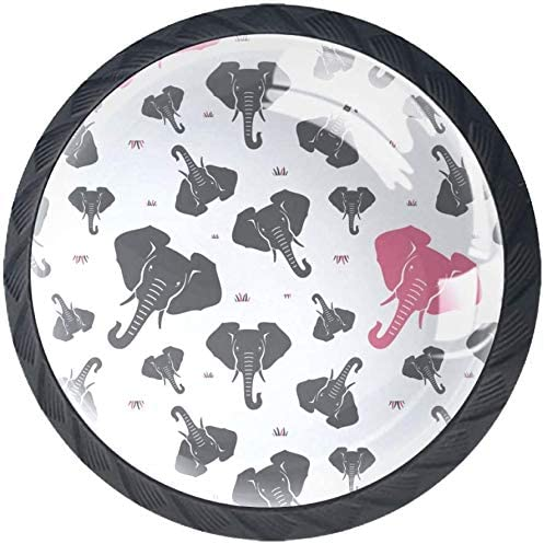 2021new shipping free 4 Pack Round Cabinet Hardware Knob 1-3 Pink New life Elephants and Gray -