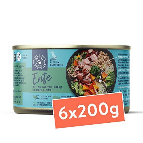 Pets Deli cibo umido per cani 1,2 kg - confezione speciale da 6 pacchi | qualità premium | anatra con zucca, broccoli, chia e finocchio - cibo per cani con un'alta percentuale di carne