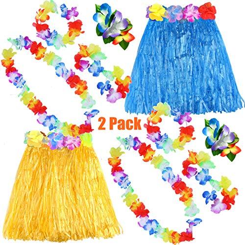 FEPITO 2 Set Hawaiian Herbe Hula Jupe avec Fleur Leis Collier Bandeau Bracelets Robe Costume Ensemble pour Filles Femme Luau Hawaiian Dance Jupe Party Favors