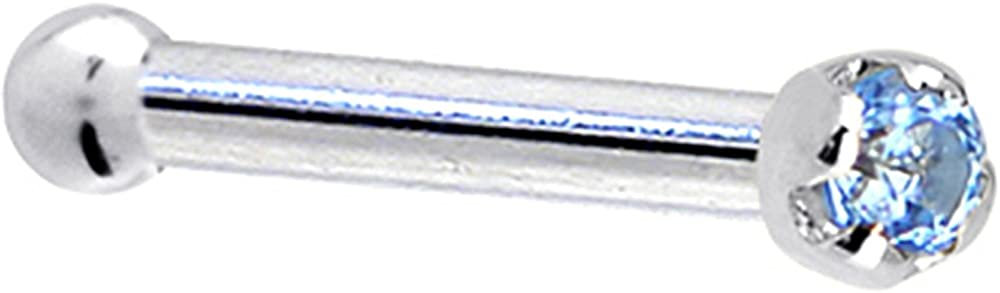 Solid 18k White Gold 1.5mm Genuine Topaz Nose Stud Bone 18 Gauge 1/4