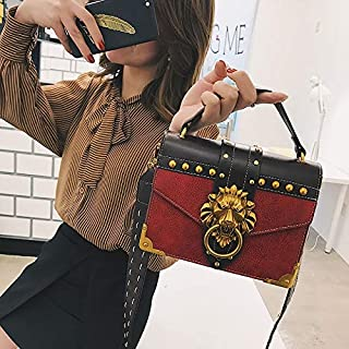 Adebie - Luxury Famous Brand Shoulder Bags Female Lion Head Lock Handbag Women PU Leather Messenger Crossbody Bags Fashion Party Clutch Red