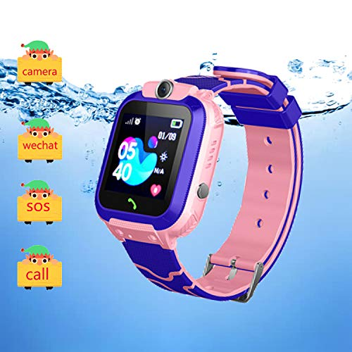 Kids Smart Watch GPS Tracker IP67 Waterproof - Boys Girls Smartwatches with SOS Camera Alarm Call Camera Alarm Games 1.44'' Touch Screen SOS Electronic Toy Birthday