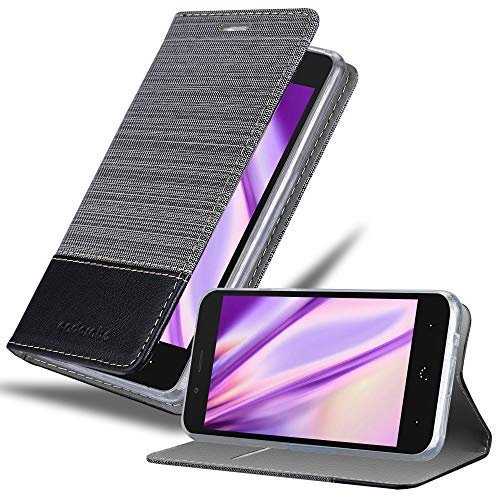 Cadorabo Hülle für BQ Aquaris X5 in GRAU SCHWARZ - Handyhülle mit Magnetverschluss, Standfunktion & Kartenfach - Hülle Cover Schutzhülle Etui Tasche Book Klapp Style