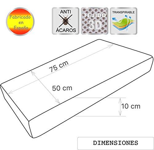 Pekitas - Colchón Minicuna 50x75 cm Funda AIR-3D Transpirable Antiahogo Con Cremallera Lavable Grosor 10cm Interior Espuma Blanca Fabricado en España