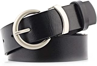 SGJFZD Women's PU Belt Pin Buckle Decorative Imitation Leather Wide Belt Casual Round Buckle Solid Color Belt (Color : Black, Size : 110 * 2.8cm)
