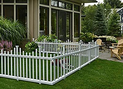 """Zippity Outdoor Products ZP19001 Madison Vinyl Picket Fence, White, 30"""" x 56"""" (3 Boxes Pack of 6 Units)"""