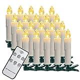 SZILBZ 40Stk Weihnachten LED Kerzen Lichterkette Weihnachtsbaumkerzen weihnachtskerzen Christbaumkerzen mit Fernbedienung Kabellos