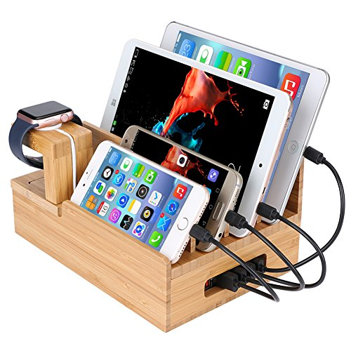 InkoTimes Bamboo Charging Station for Multiple Devices Organizer - USB Wooden Charging Docking Station - Perfect for Smart Phone Pad Tablet Home Family Office or Gift Giving (USB Charger NOT Included)