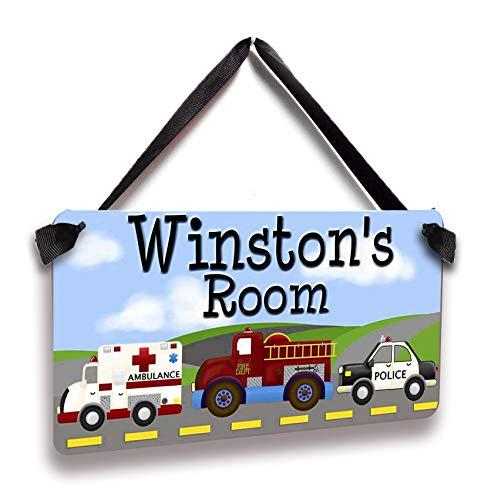 "LUHANCK Girls Nursery Custom Name Wall Décor Sign Ambulance Firetruck Police Personalized Door Decor for Baby Kids Boy Girl Bedroom Nursery-5""x10"""