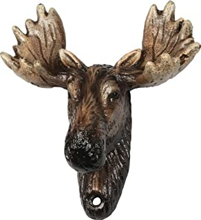 CAST IRON VINTAGE STYLE MOOSE HEAD BOTTLE OPENER with WALL MOUNT
