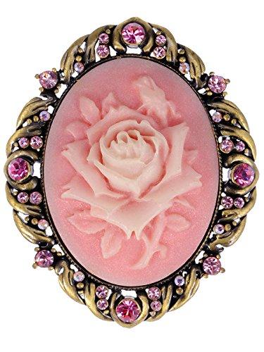ALILANG Damen Vintage Gold Antike Strass Rose Rosa Kristall Blumen Miniatur Brosche