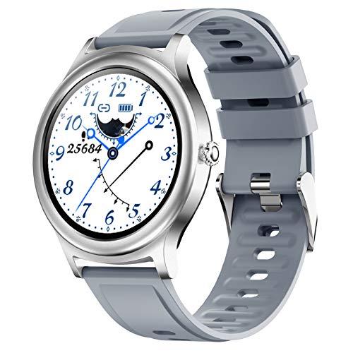 Smartwatch Reloj Inteligente Con Pulsómetro Cronómetros Calorías Monitor De Sueño Podómetro Pulsera Actividad Inteligente Impermeable IP67 Smartwatch Hombre Reloj Deportivo Para Android Ios,Plata