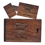 Wooden USB Flash Drive with Laser Engraved Our Love Story - 32GB USB 2.0 Memory Stick Data Storage Pendrive with Walnut Box, for Wedding/Photography/Anniversary