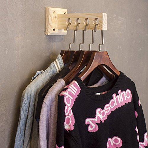 ZHANWEI Mur Porte-Manteau en Bois Mural Crochet À Vêtements avec 4 Trous pour La Maison Magasin Vêtements Style Industriel Vintage, 10X23X10cm, 7 Couleurs Porte-vêtements (Couleur : Couleur du Bois)