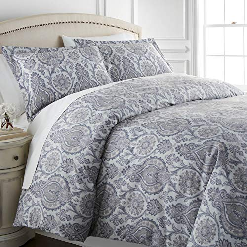 Boho Paisley Collection - Premium Quality, All-Season Down Alternative Easy Case, Over-Sized 3-Piece Comforter Set, King / California King, Grey
