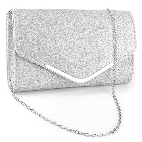 Surepromise Frau Abendtasche Glitter Umschlag Dame Umhängetasche Handtasche Kette Tasche für Hochzeit Freizeit Party