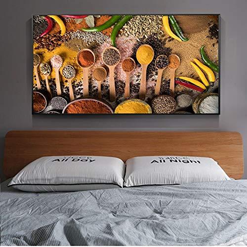 Tafel kruiden keuken kamerdecoratie poster en afdrukken canvas muurkunst afbeelding moderne muurkunst canvas schilderij frameloos schilderwerk