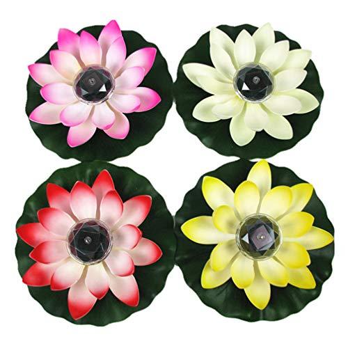 PIXNOR 4 Stücke Teichlicht Solar Lotus Licht Laterne LED Schwimmende Blumen Solarleuchten Lotusblume Künstliche Seerosen Lotusblüte Lotusblatt Pool Lampe für Teich Garten Deko 28cm