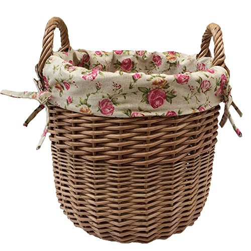 Red Hamper Wicker Willow Large Wicker Linen Basket with a Garden Rose Lining