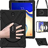 Galaxy Tab S4 10.5' Case, BRAECN Heavy Duty Shock-Proof Case with 360 Degree Kickstand/Hand Strap and Carrying Shoulder Strap for Samsung Galaxy Tab S4 10.5 inch 2018 Tablet SM-T830/T835/T837 (Black)