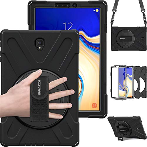 """Galaxy Tab S4 10.5"""" Case, BRAECN Heavy Duty Shock-Proof Case with 360 Degree Kickstand/Hand Strap and Carrying Shoulder Strap for Samsung Galaxy Tab S4 10.5 inch 2018 Tablet SM-T830/T835/T837 (Black)"""