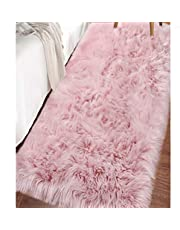 LOCHAS Ultra Soft Fluffy Rugs Faux Fur Sheepskin Area Rug for Bedroom Bedside Living Room Carpet Nursery Washable Floor Mat, 2x4 Feet Pink