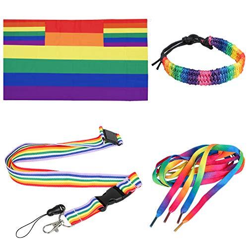 TRIXES 4PC Accesorios Arcoíris para el Día del Orgullo Gay Conjunto Multicolor de Capa Tamaño para Adultos, Bandera Cordón Sibato, Cordones Zapatos y Brazaletes-Festivales Carnaval Eventos de LGBTQ