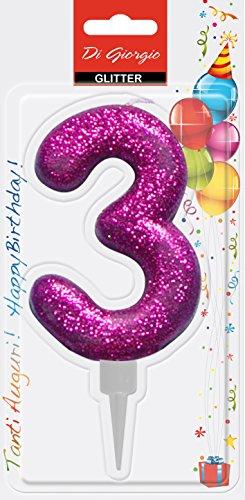 Cereria di Giorgio- Candela di Compleanno Gigante con Glitter Numero 3, Viola, 58160_63