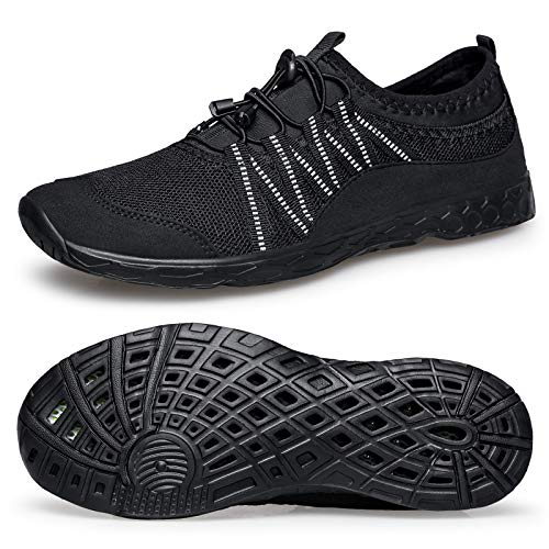 Alibress Lightweight Sport Water Shoes for Men Quick Drying Aqua Water Shoes Black 8.5 M US