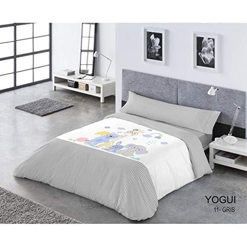 Catotex Funda NÓRDICA Reversible PASATA 3/Piezas, Modelo: YOGUI, Color: 11-Gris, Medida: Cama DE 90x190/200cm.