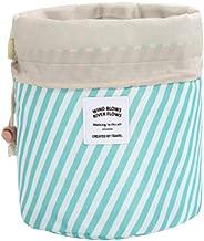 حقيبة مستحضرات التجميل العصرية من Yupfun حقيبة أدوات التجميل المصنوعة من قماش أكسفورد للسفر، حقيبة أدوات تجميل أسطوانية برباط وحقيبة تخزين أسطوانية متعددة الأغراض، زرقاء اللون